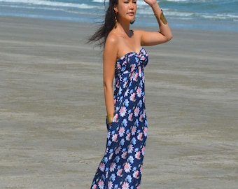 Navy Blue white pink FloweryPrinted  long maxi dress All size