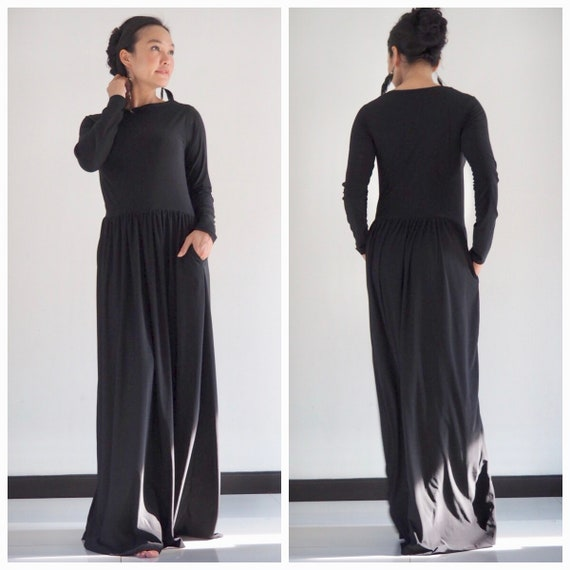 Black long sleeve dressblack dress black long dress Beach  a0f657b1f