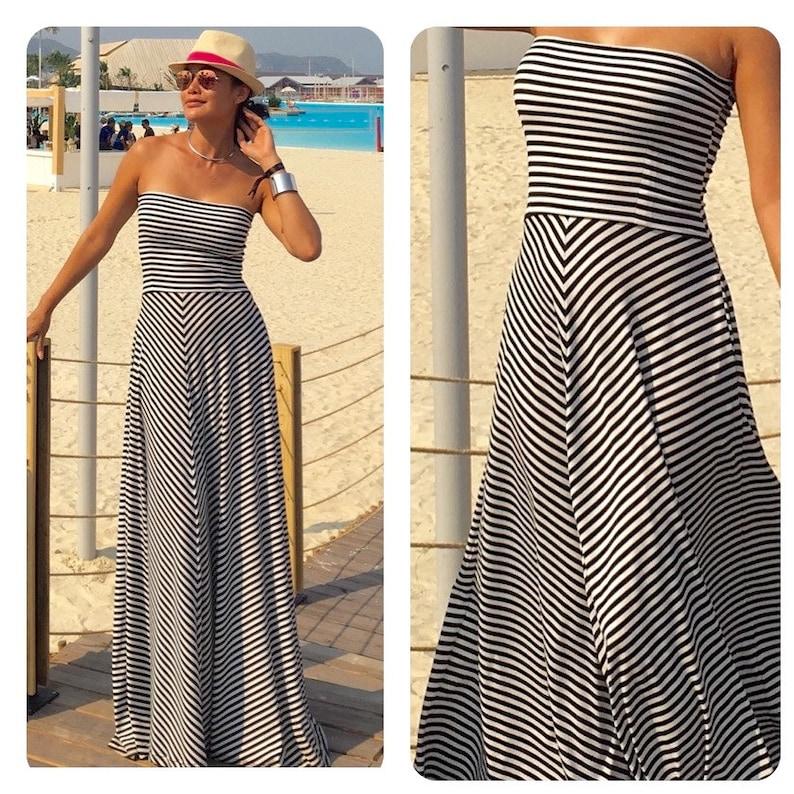 buy popular b3ed0 ae831 Schwarzes weißes Kleid, gestreiftes Kleid, strapaziertes Kleid, langes  Maxi-Kleid, Frauenkleid