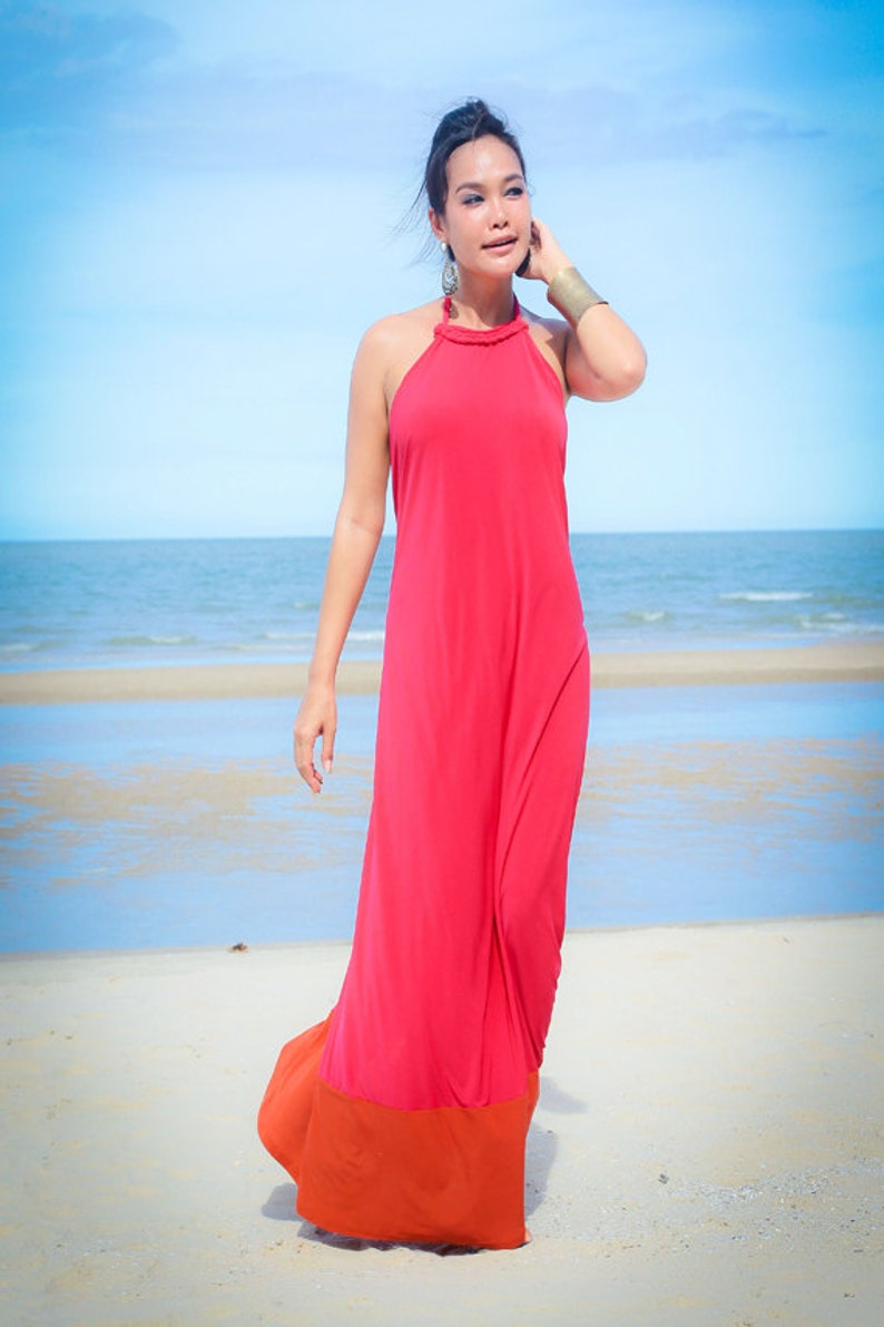 0b4da6406a Color block Pink Orange Halter open back long maxi dress sun
