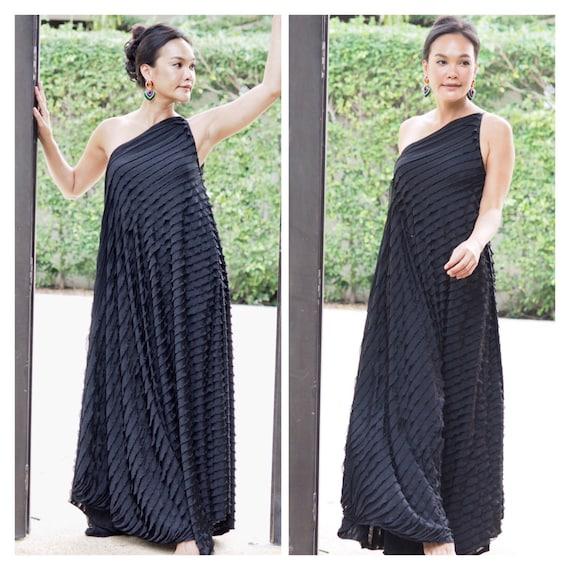 Black Raffles Dress Black One Shoulder Dressmaternity Dress Etsy
