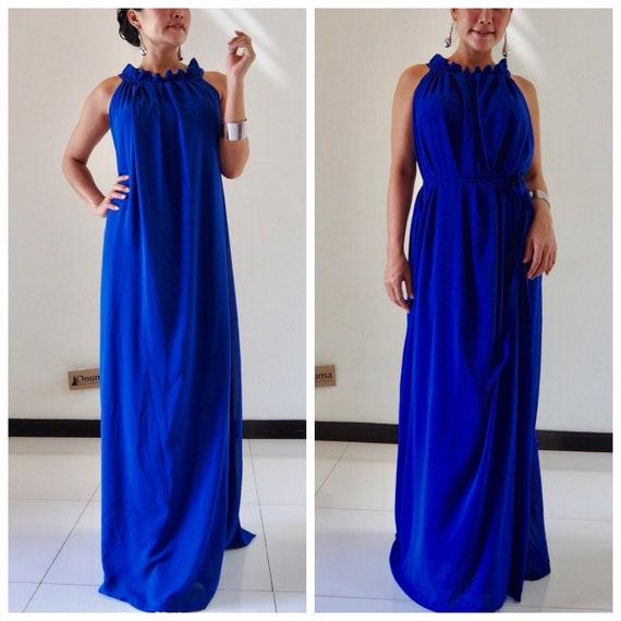 Royal blue bridesmaids dress , blue maxi dress, maternity dress chiffon sleeveless long maxi dress all size