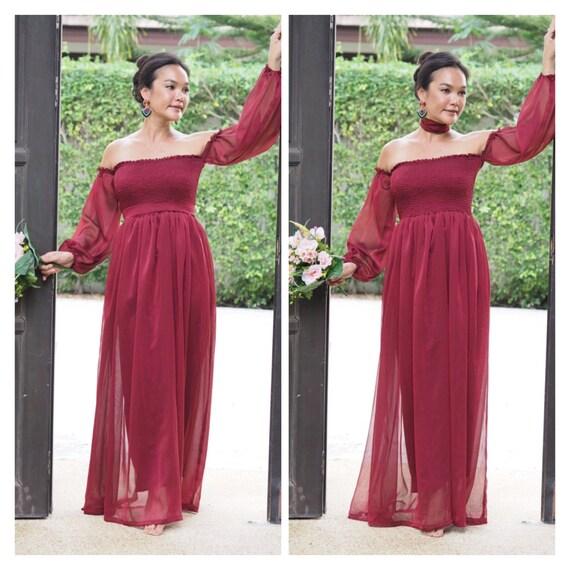 6a168be4c700 Red burgundy dress chiffon long sleeve off shoulder   Etsy