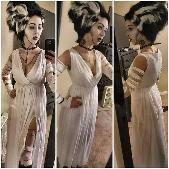 Halloween Bride.Halloween Costume Bride Of Frankenstein White Dress V Neck Chiffon Evening Long Maxi Sun Dress All Size