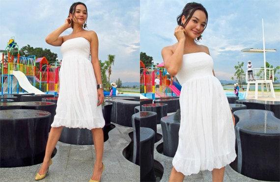 White chiffon short dress knee length one size All size