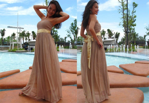 Beige Chiffon Bridesmaid Dress 2017: Bridesmaid Nude Beige Chiffon Strapless Beach Evening Long