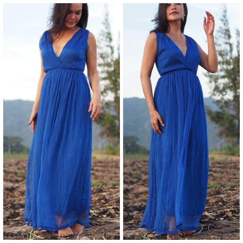 cbebf3ea45f25 Royal blue bridesmaids dress maternity dress chiffon | Etsy