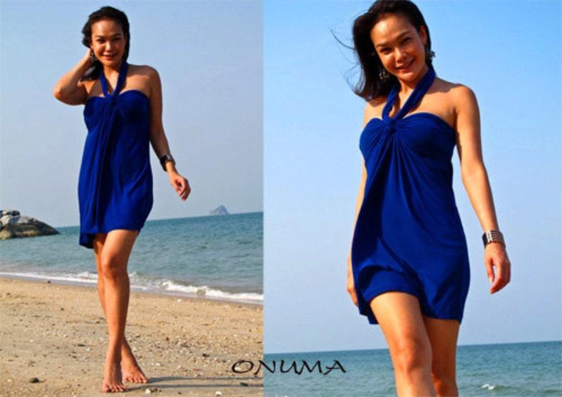 38837ae9283 Royal Blue Halter or strapless Short dress summer Beach dress
