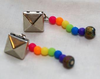 Rainbow Dangle Dream Pyramid Studded Earrings