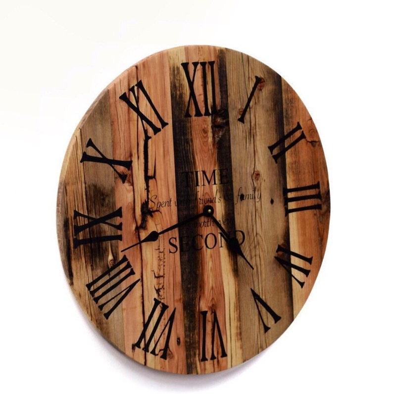 Reclaimed Barn Wood Clock Rustic Wood Wall Clock Large