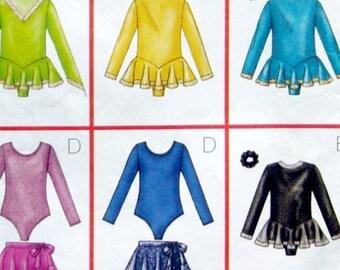 Butterick - sewing pattern, gymnastics, ballet, dance leotard, skating dress costume, detachable skirt, Girls sizes 12 & 14