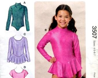 Kwik Sew - girls sizes 4,5,6,7 sewing pattern, gymnastics, ballet dance leotard dress costume  long and short sleeves, varied neckline