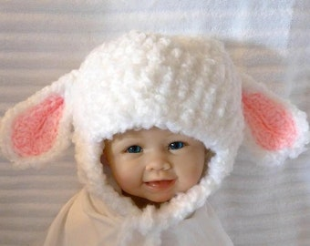 Lamb Hat, Floppy-Ears, Earflap Hats for Baby, Toddler, Teen, and Adult, Sheep hat,  White, Black, Tan, Gray