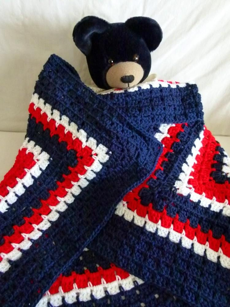 Crochet Blanket Afghan Red White And Blue Or Other Custom Etsy
