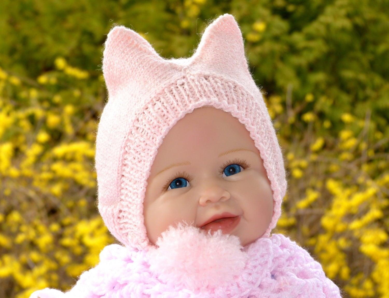 1a35515c7 Cat Ear Hat, Kitty Ear Hat The Original Cat Beanie Kitty Animal Hat Knit  Cat Hat Ear Flaps Large Pom Poms