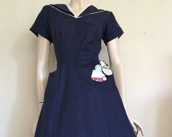 RARE NOS Stunning 50s Blue Spotty Day  Dress / Secretary / Medium