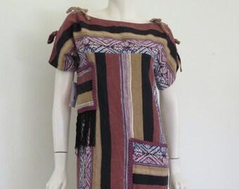 Authentic 70s Boho Sack Dress / Hippy / Medium / Fringe