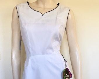 RARE NOS Stunning 50s 60s White Spotty Day  Dress / Wedding / Medium