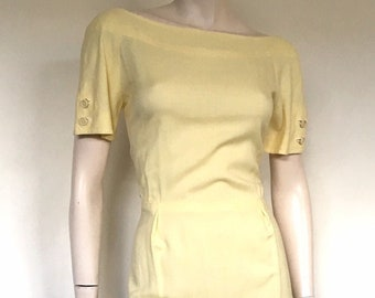 Vintage 50s Yellow Linen Day Dress / Large