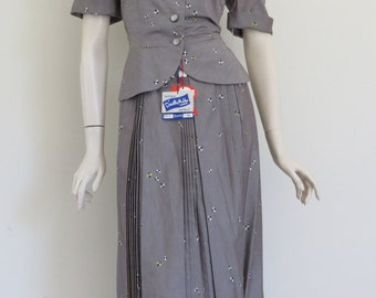 Stunning  Classic 50s Two Piece Novelty Print Top and Skirt / Secretary / Large / New Look / Huge Bow