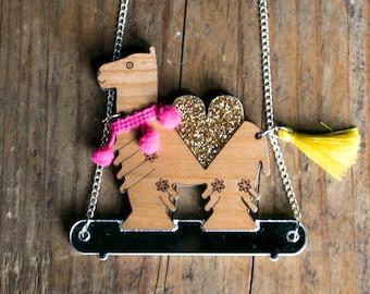 Camel Necklace - Camel Pendant - Animal Jewellery - Camel Jewellery - Gold Camel - Circus Jewellery - Laser Cut Jewellery - Llama Necklace