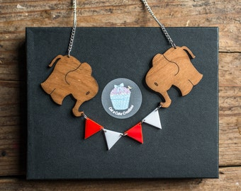 Elephant Necklace - Elephant Statement Necklace - Circus Jewellery - Party Necklace - Bunting Necklace - Elephant Pendant - Made in Brighton