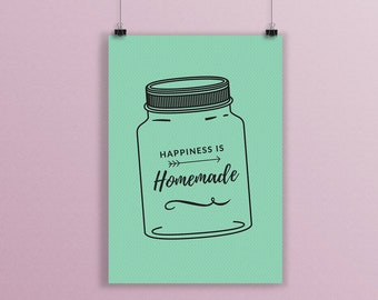 Happiness is Homemade, Happiness Quote, Kitchen Decor, A5 Print, Happiness Print, Home Decor, Wall Art, Vintage Print, Happiness Jar