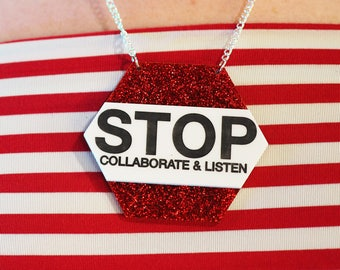 Statement Necklace, 90's, Hip Hop, Festival Fashion, Retro, Stop Collaborate and Listen, Rockabilly, Hipster, Glitter Necklace