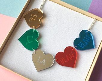 Fa La La Blah Blah Christmas Necklace, Deck the Halls Jewellery
