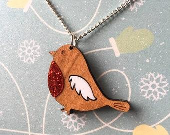 Festive Robin Necklace, Christmas Jewellery