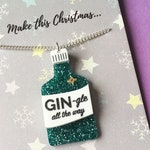 Gin Gifts, Gin-gle All The Way, Gin Necklace, Christmas Jewellery, Jingle Bells, Gin Lover Gift, Christmas Spirit, Festive Pun, Xmas Party