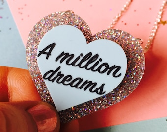The Greatest Showman, Heart Necklace, Wedding Gift, Dream Big, Graduation Gift, Girlfriend Gift, A Million Dreams, Love, PT Barnum