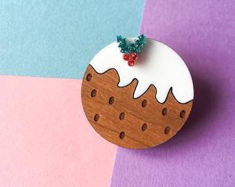 Cute Christmas Brooch, Christmas Pudding, Holiday Christmas Jewellery