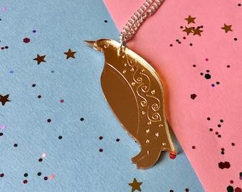Penguin Necklace - Winter Necklace - Penguin Jewellery - Cute Penguin - Penguin Gift - Penguin Love - Laser Cut Necklace - Animal Necklace