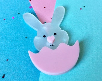 Rabbit Brooch, Bunny Brooch, Rabbit Lover Gift, Rabbit Jewellery, Bunny Jewellery, Rabbit Pin, Pink Pin, Egg Brooch, Cute Rabbit, Pink Heart