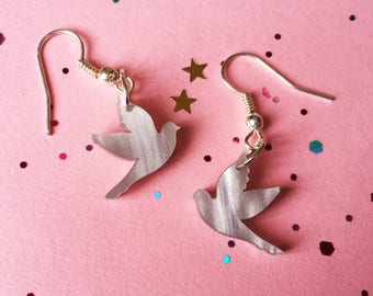 Bird Earrings - Bird Jewellery - Acrylic Bird - Laser Cut Bird - Freedom Jewellery - Flying Bird - Drop Earrings - Silver Bird Jewellery