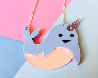 Narwhal Necklace, Narwhal Jewellery, Narwhal Gift, Animal Necklace, Cute Necklace, Sea Unicorn, Whale Necklace, Mermaid Jewellery, Kawaii