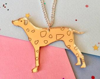 Dog Necklace - Dalmatian Gifts - Dog Jewellery - Dalmatian Necklace - Spotted Dog - Gold Dog  - Dog Lover Gift - Acrylic Dog - Laser Cut Dog