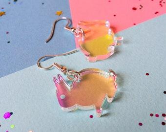 Rabbit Earrings - Rabbit Jewellery - Bunny Earrings - Acrylic Earrings - Laser Cut Rabbit - Festival Fashion - Animal Earrings - Earrings