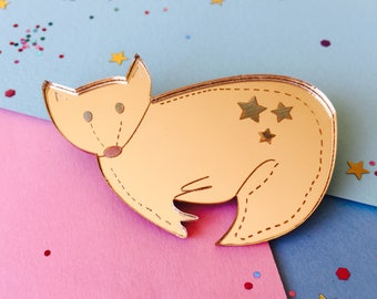 Fox Brooch, Fox Jewellery, Fox Gift, Animal Brooch, Gold Fox, Animal Jewellery, Fox Pin, Fox Badge, Gold Mirror Pin, Laser Cut Brooch, Fox