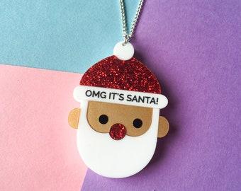 OMG It's Santa Necklace, Christmas Jewellery