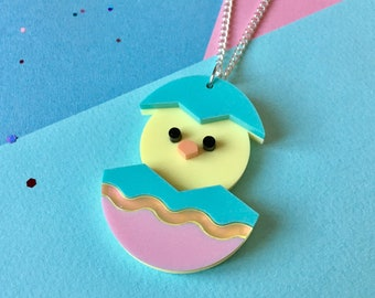 Chick Necklace, Bird Necklace, Yellow Necklace, Bird Jewellery, Hen Necklace, Pastel Necklace, Duckling Necklace, Laser Cut Necklace, Spring