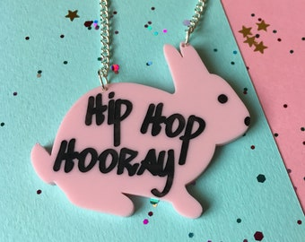Rabbit Necklace, Bunny, Hip Hop, Animal Necklace, 90's, Animal Jewellery, Gift for Her, Birthday Gift, Graduation Gift, Acrylic Necklace