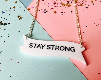 Inspiration Jewellery, Motivation Necklace, Strong Woman, Stay Strong, Quotes, Laser Cut Jewellery, Motivational Gift, laser cut necklace