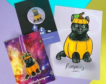 Halloween Black Cat Gift Set, Pumpkin Stationery