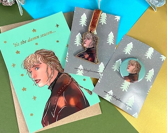 Taylor Swift Christmas Card, Decoration and Badge Set