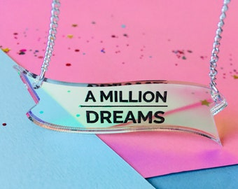 A Million Dreams, The Greatest Showman, The Greatest Showman Quote, Quote Necklace, PT Barnum, Dream Necklace, Inspiration, Motivation Gifts