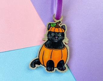 Black Cat Halloween Decoration, Pumpkin Kitten