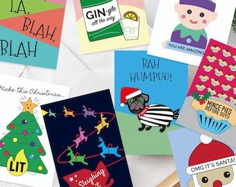 Christmas Cards Set of 8, Fun Christmas Cards, Christmas Pun