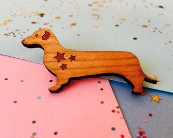 Dachshund Brooch, Sausage Dog Brooch, Dog Brooch, Dachshund Pin, Dachshund Gift, Dog Jewellery, Dog Lover Gift, Wood Dog, Mother's Day Gift